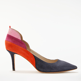 Boden Carrie Stiletto Heeled Court Shoes, Multi/Navy Suede