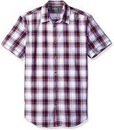 Calvin Klein Jeans Men's Linear Streak Plaid Short Sleeve Button Down Shirt