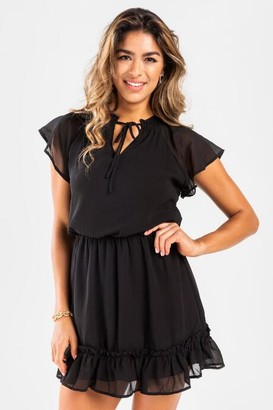 francesca's Druelle Peasant Mini Dress - Black
