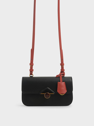 Charles & Keith Stone-Embellished Crossbody Bag