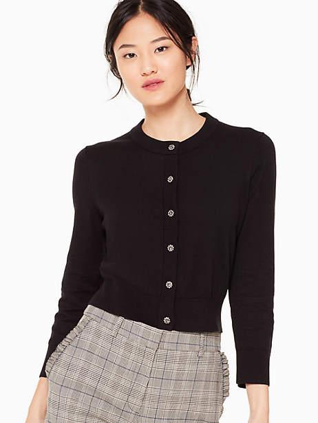 Kate Spade Jewel Button Cropped Cardigan, Black - Size L