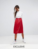 Monki Asymmetric Contrast Midi Skirt