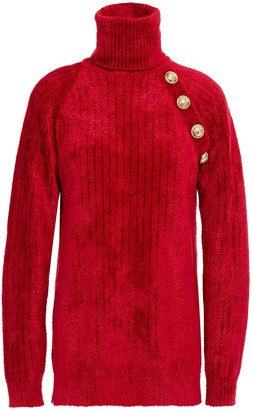 Balmain Button-embellished Ribbed Chenille Turtleneck Sweater