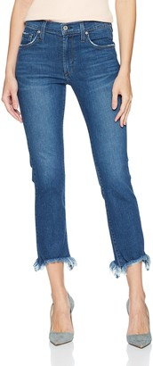 James Jeans Women's Sneaker Straight High Rise Ankle Length Jean in Victory Fray 28