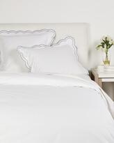 Melange Home Double Scallop Embroidered Cotton Percale Duvet Set