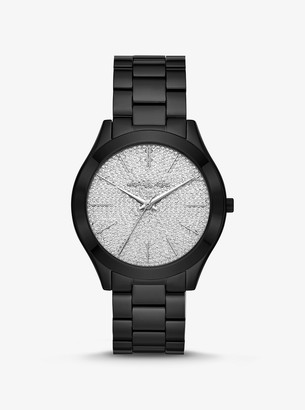 Michael Kors Slim Runway Pave Black-Tone Watch