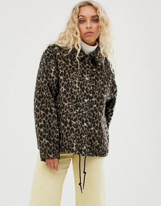 Weekday leopard print button-through jacket in brown-Multi