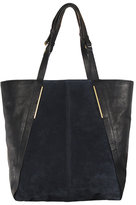 Large Suede & Leather Shopping Bag In Blue
