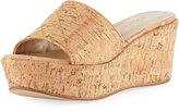 Sesto Meucci Tahnee Quilted Cork Wedge Slide Sandal, Neutral