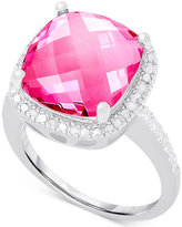 Victoria Townsend Pink Quartz (6 c.t. t.w.) and Diamond (1/10 c.t. t.w.) Ring in Sterling Silver
