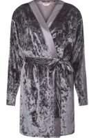 Dorothy Perkins Womens Charcoal Velvet Dressing Gown