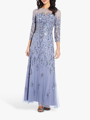 Adrianna Papell Beaded Transparent Maxi Gown, Cool Wisteria