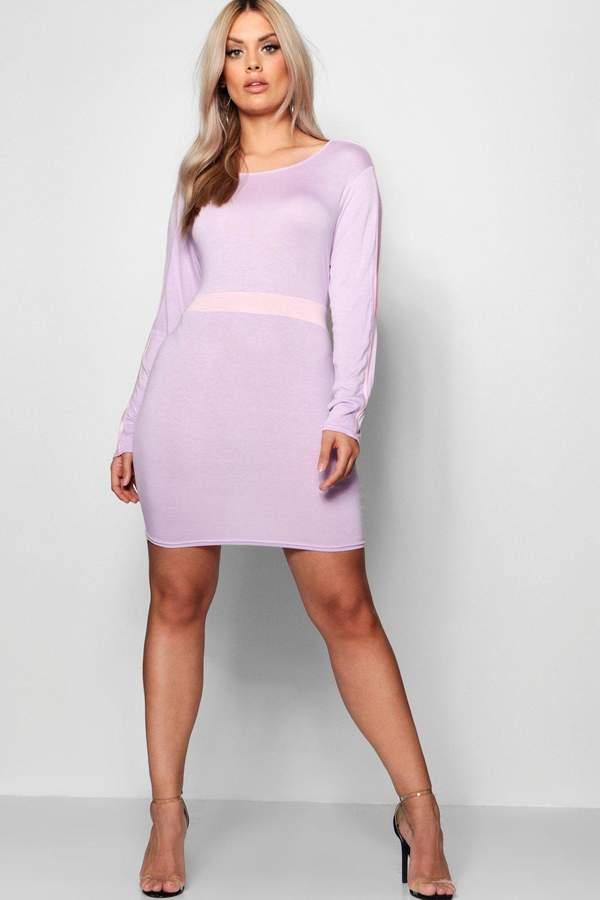 boohoo Plus Jersey Contrast Sport Bodycon Dress