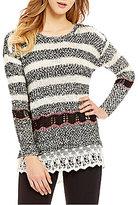 Takara Lace Hem Striped Sweater