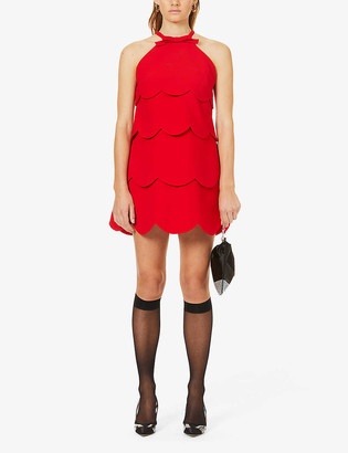 Miu Miu Faille Cady scallop-tiered crepe mini dress