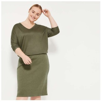 Joe Fresh Women+ Blouson Dress, Dark Olive (Size 2X)