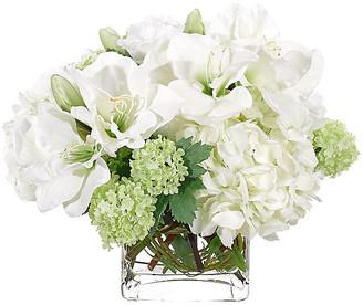 "17"" Amaryllis & Hydrangea in Cube Vase - Faux - NDI - arrangement, white; vessel, clear"
