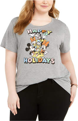 Modern Lux Trendy Plus Size Happy Disney Crew Graphic T-Shirt