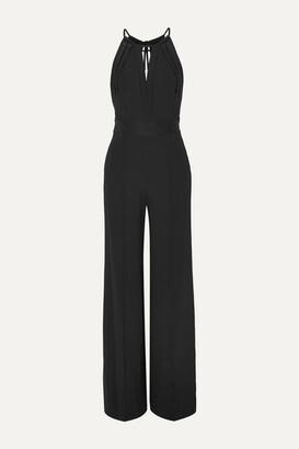 Diane von Furstenberg Ireland Open-back Satin-trimmed Crepe Halterneck Jumpsuit - Black
