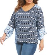 Westbound Plus Printed Bell Sleeve V-Neck Top