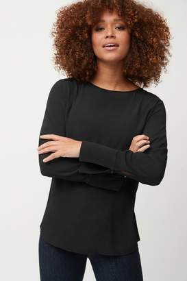 Next Womens Black Deep Cuff Long Sleeve Top - Black