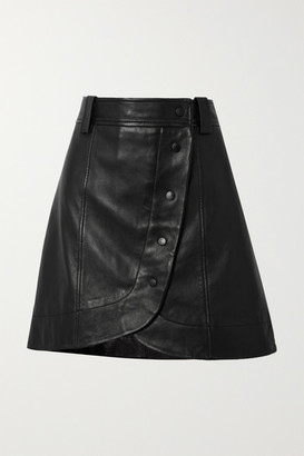 Ganni Asymmetric Leather Wrap Mini Skirt - Black