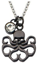 """Marvel Women's Hydra Cutout Stainless Steel Black IP Pendant Necklace with Clear CZ (18"""")"""