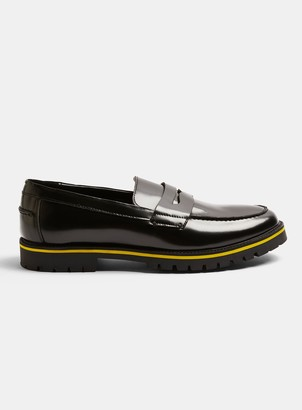 Topman Black Leather Loafers with Yellow Sole