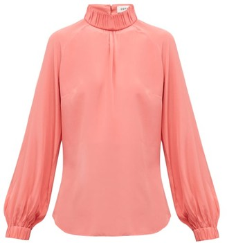 Cefinn - Gathered High-neck Silk Crepe De Chine Blouse - Womens - Pink