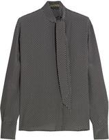 Bottega Veneta Pussy-bow printed silk crepe de chine blouse