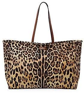 Valentino Women's Garavani Rockstud Leopard-Print Canvas & Leather Tote