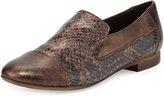 Sesto Meucci Lavena Python-Print Leather Flat, Chestnut