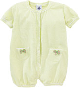 Petit Bateau Baby Girl Milleraies Striped Short Cotton Coverall With Bow