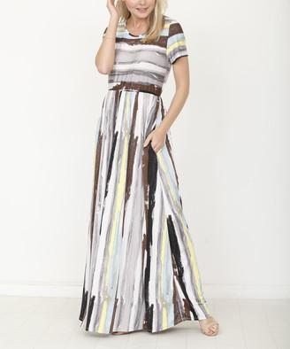 egs by eloges Women's Maxi Dresses CHARCOAL - Charcoal Watercolor Short-Sleeve Pocket Maxi Dress - Women
