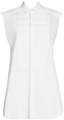 Bottega Veneta Gridded-Bib Cap-Sleeve Cotton Shirt