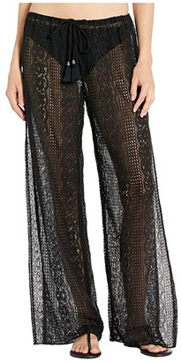 Becca by Rebecca Virtue Poetic Sheer Lace Pants Cover-Up (Black) Women's Swimwear