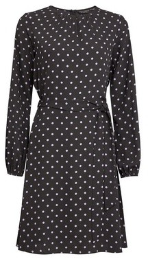 Dorothy Perkins Womens Black Spot Print Pleat Neck Fit And Flare Dress, Black