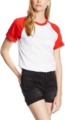 Fruit of the Loom Women's Short Sleeve Baseball T White/Red Medium