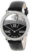 Versace Women's 93Q99BD008 S009 Krios Round Stainless Steel Micro Spheres Black Leather Watch