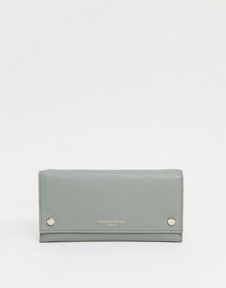 Paul Costelloe leather purse with popper detail in green