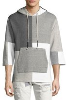 Mostly Heard Rarely Seen Patchwork 3/4-Sleeve Hooded Sweatshirt, Gray Pattern