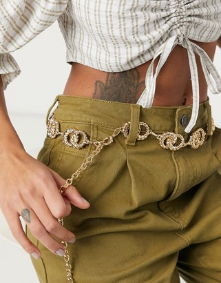 Pieces chain belt in gold