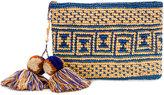 Yosuzi canvas woven pouch with pompom tassels