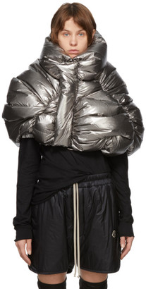 Rick Owens Silver Moncler Edition Down UFO Cropped Jacket