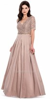 Decode 1.8 Short Sleeve Sparkling Lace Pleated Evening Gown