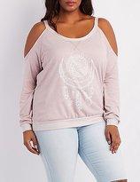 Charlotte Russe Plus Size Graphic Cold Shoulder Sweatshirt