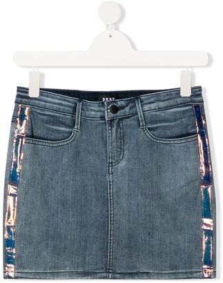 DKNY TEEN metallic stripe logo patch mini skirt