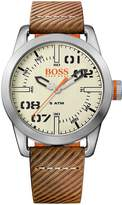 HUGO BOSS Oslo Casual Cream Dial Brown Strap Mens Watch