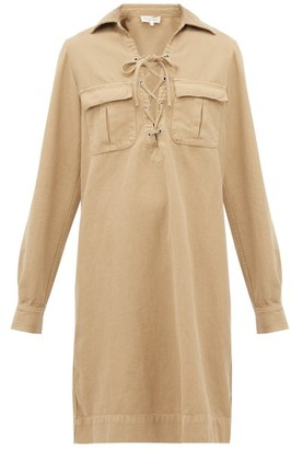Nili Lotan Andrea Lace-up Cotton-blend Shirtdress. - Camel