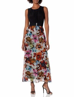 Gabby Skye Women's Sleeveless Floral Print 2fer Chiffon and ITY Belted Maxi Dress
